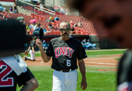 UNLV baseball coach on the field