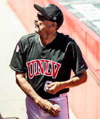 UNLV baseball coach autographs for younger fans