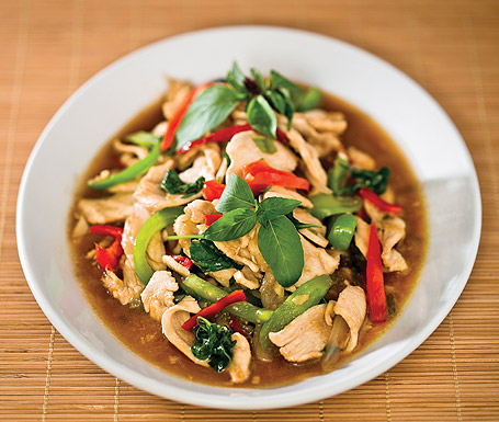 The heat is on: spicy-sweet  basil chicken at Weera Thai