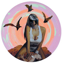 Lascivious Landscape by JK Russ, mixed media on vinyl record courtesy of Sin City Gallery