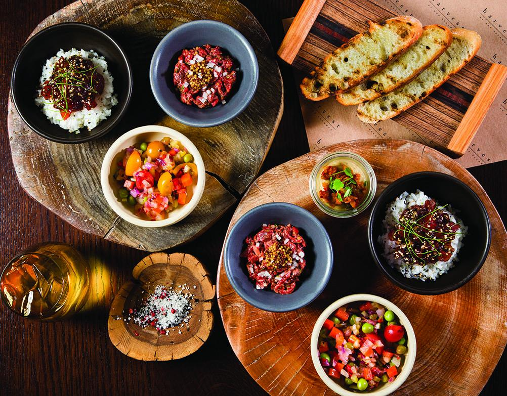 """Steak tartare and other items from Harvest's """"snack wagon"""""""
