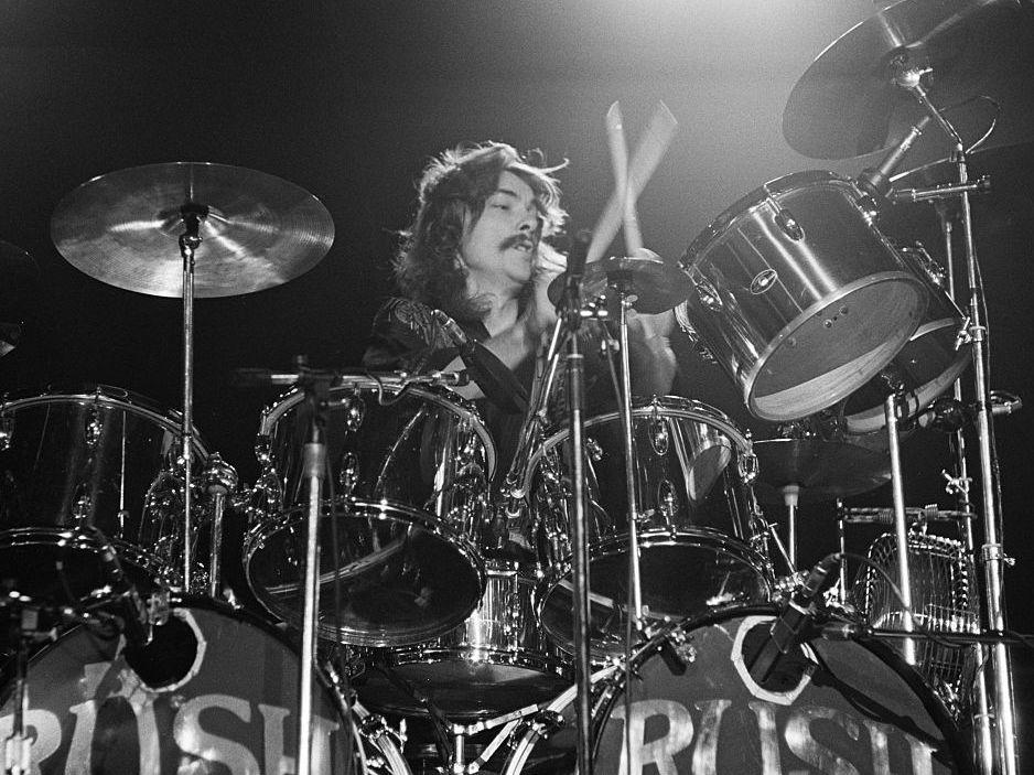 Drummer Neil Peart, on stage with Rush in Springfield, Mass. in 1976.