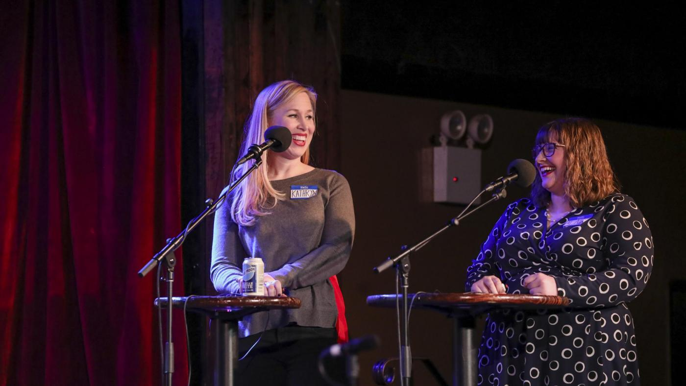 Contestants Kathryn Brower and Alaire Comyn appear on <em>Ask Me Another</em> at the Bell House in Brooklyn, New York.