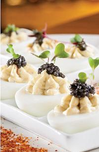 Lobster deviled eggs with caviar