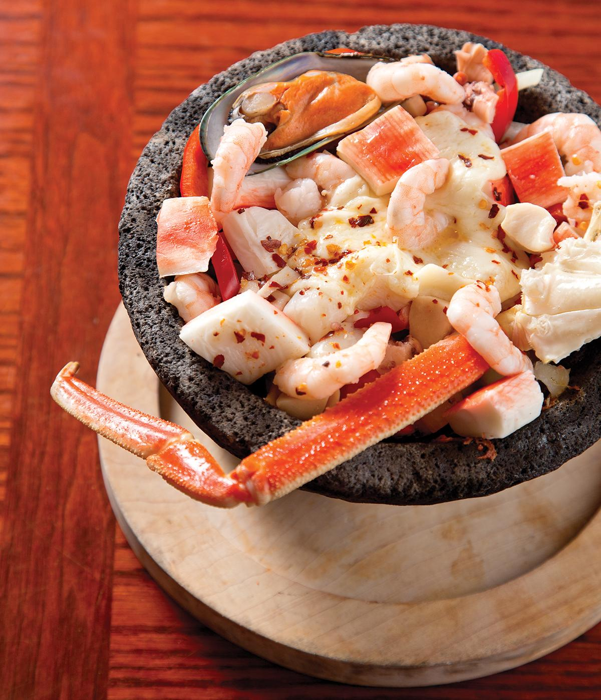 Seafood molcajete from Mariscos Playa Escondida
