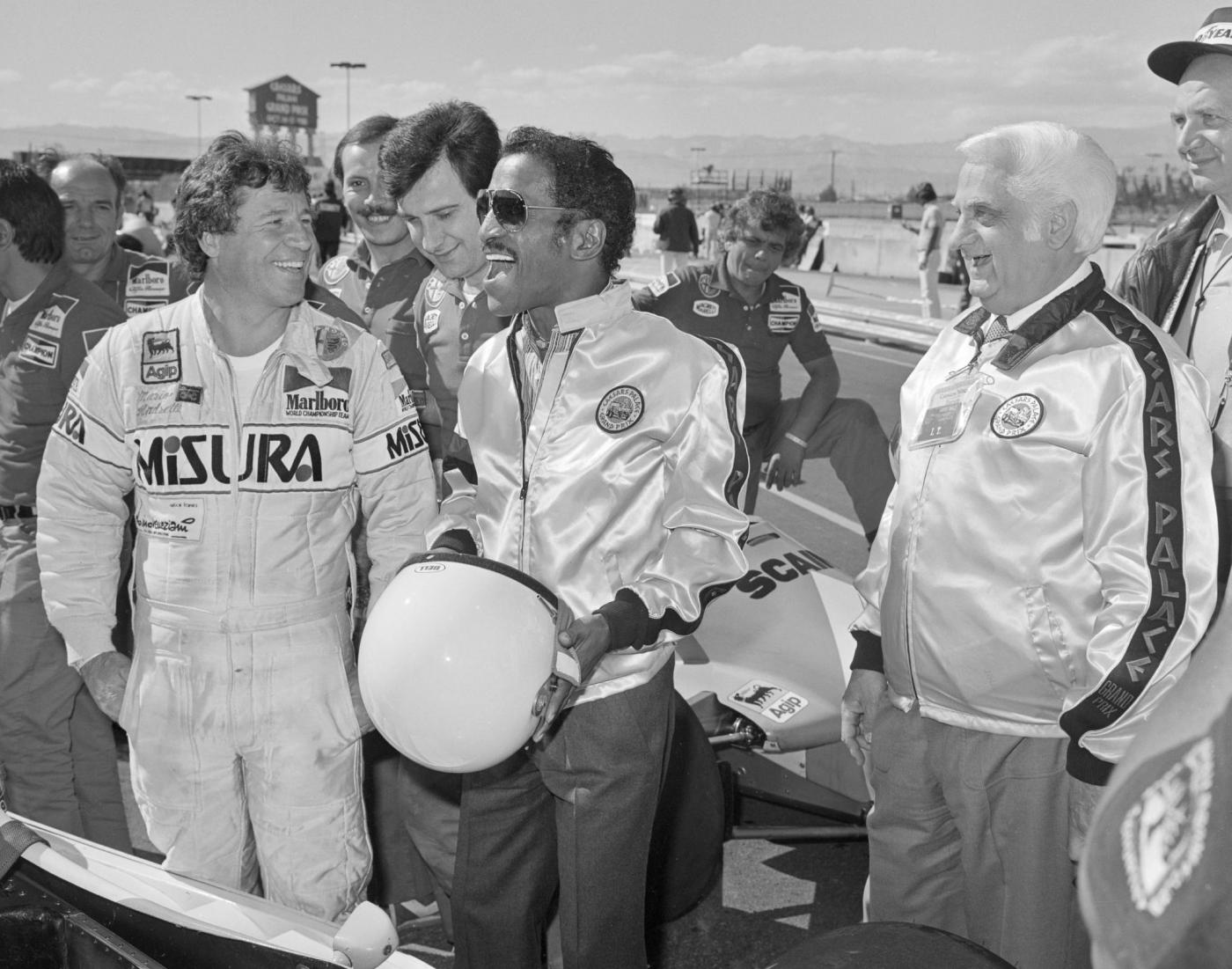 Mario Andretti and Sammy Davis Jr. hang with Caesars President Harry Wald before the race.