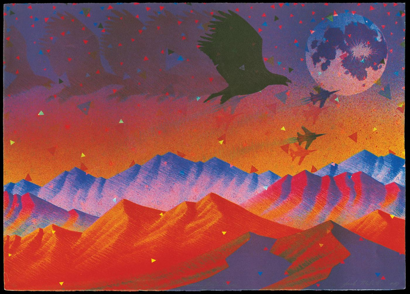 Screaming Eagle Blues, 1989, Offset lithograph, 21 x 30 inches
