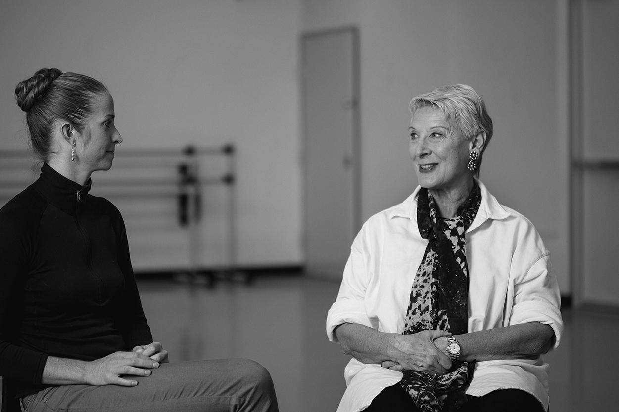 Nevada Ballet Theatre Artistic Coach Cynthia Gregory, in white talks with dancer Alissa Dale.