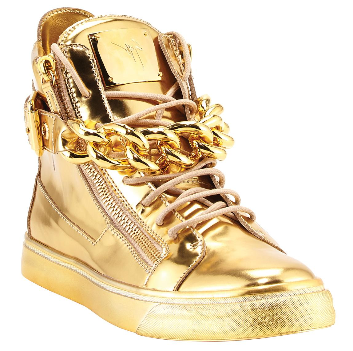 Giuseppe Zanotti men's metallic chain & zipper high-top