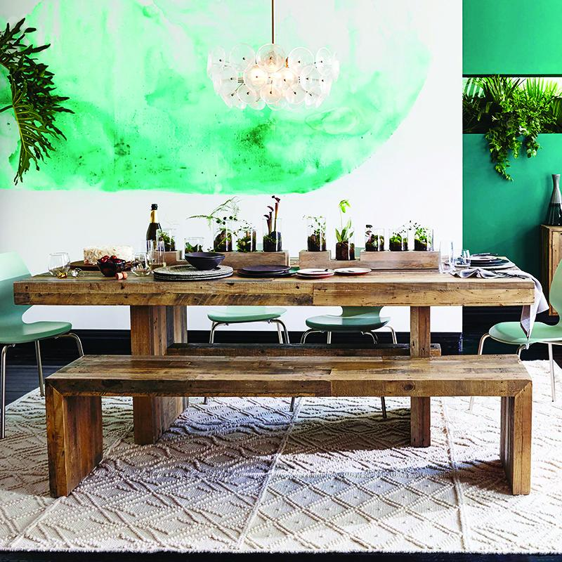 dalton reclaimed elm wood dining table 24m rustic natural re