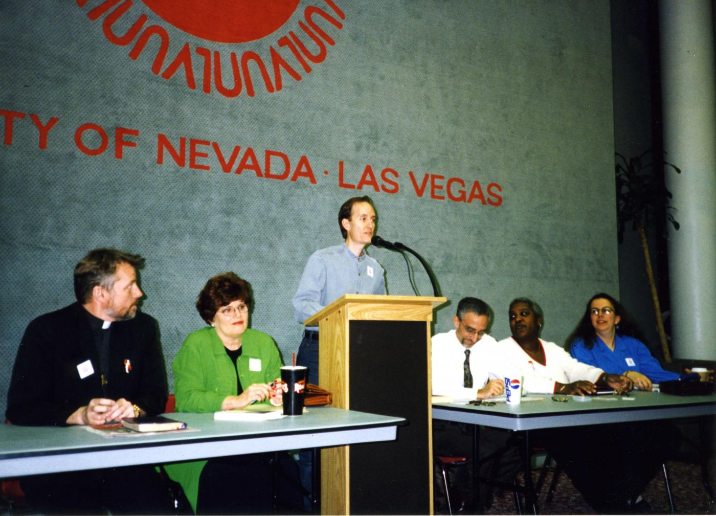 The ACLU holds a teach-in about same-sex marriage at UNLV Feb. 12, 1998.