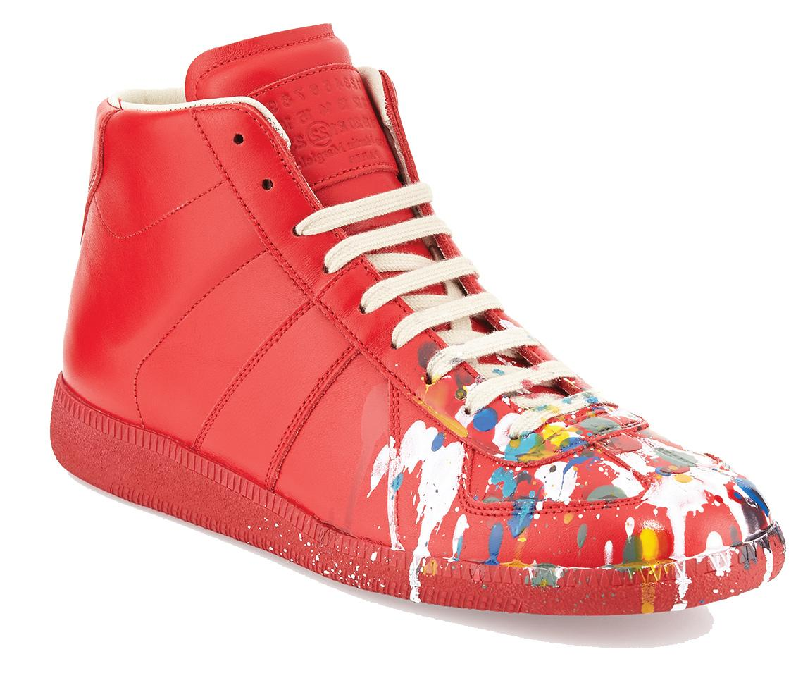 Maison Margiela men's paint splatter replica high-top sneaker