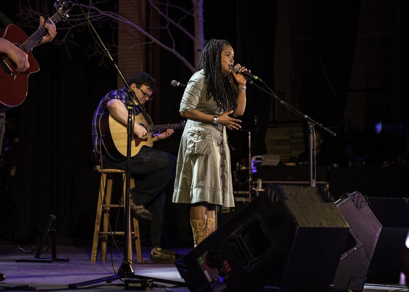 Miko Marks, based out of Oakland, California, performs at a Gathering musical showcase.