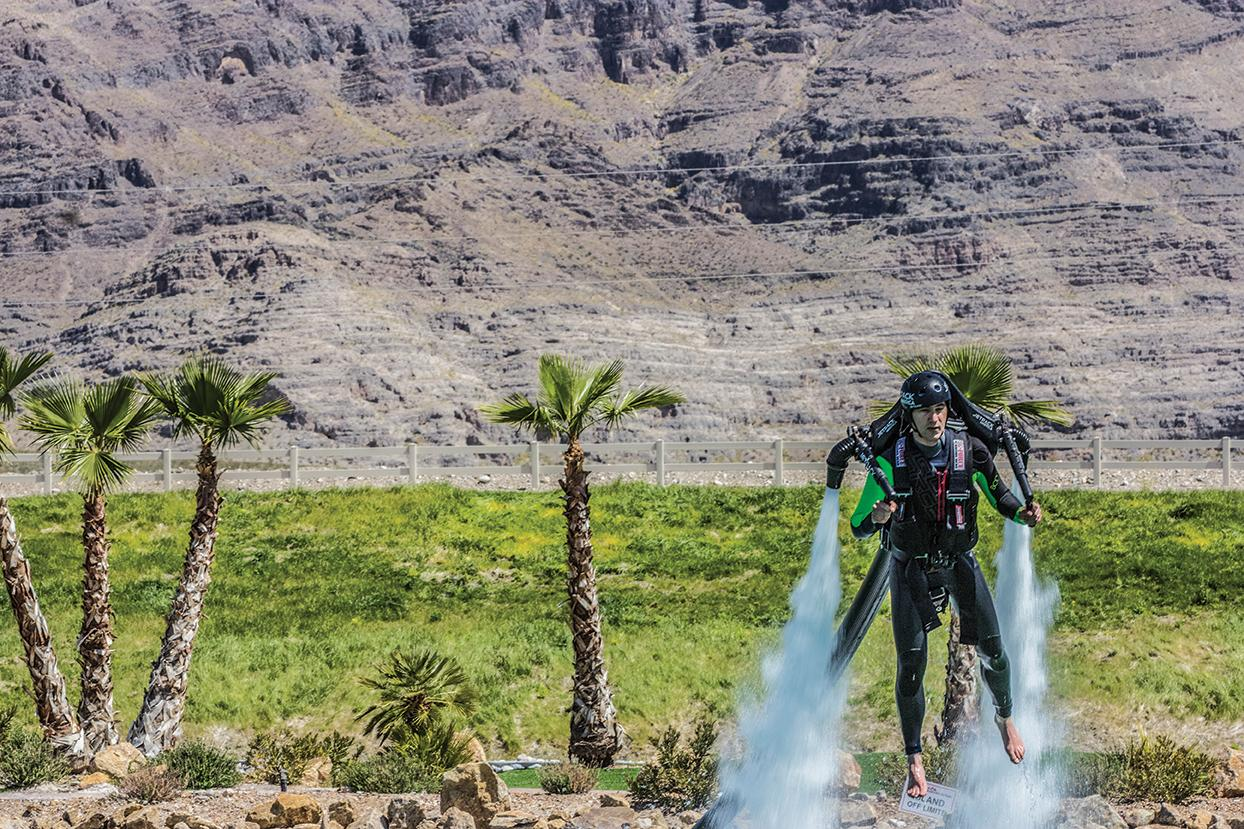 Andrew Kiraly does his best superhero impression with jetboard and jetpack.