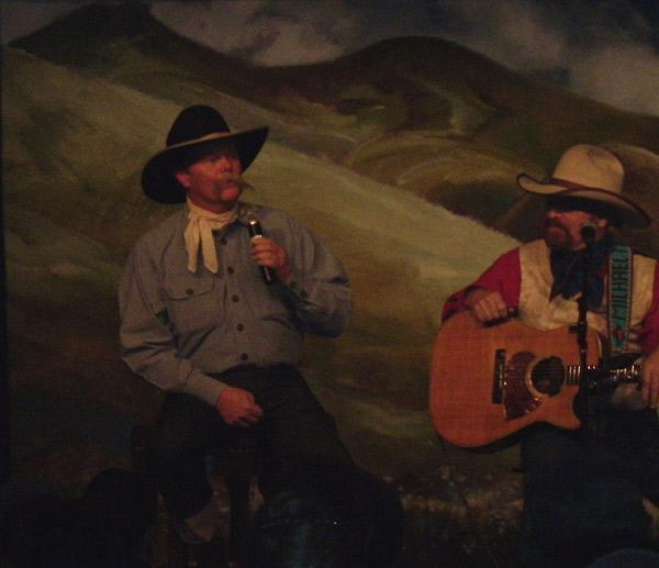 Waddie Mitchell, mid-poem (L) and Michael Martin Murphey (R)