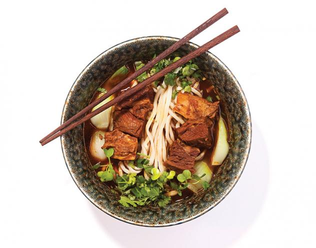 Shang Artisan Noodle's house bowl: brisket, noodles and bok choy in beef broth
