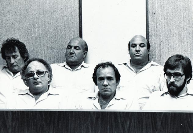 Frank Cullotta, bottom left, with accomplices after the botched 1982 Bertha's robbery.