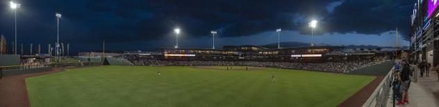 A panoramic view of Las Vegas Ballpark taken during the first home game of the Las Vegas Aviators' inaugural season.