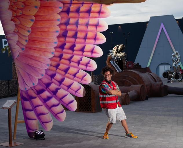 Joshua Levine, Art Island's artistic director and curator, oversees the Burning Man-inspired sculpture collection.
