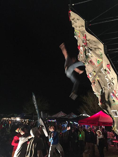 The dyno climb at Red Rock Rendezvous