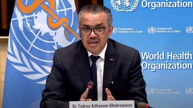 """""""At present, pathogens have greater power than WHO,"""" World Health Organization leader Tedros Adhanom Ghebreyesus said on Monday. """"They exploit our interconnectedness and expose our inequities and divisions."""" Tedros is seen speaking earlier this month in"""