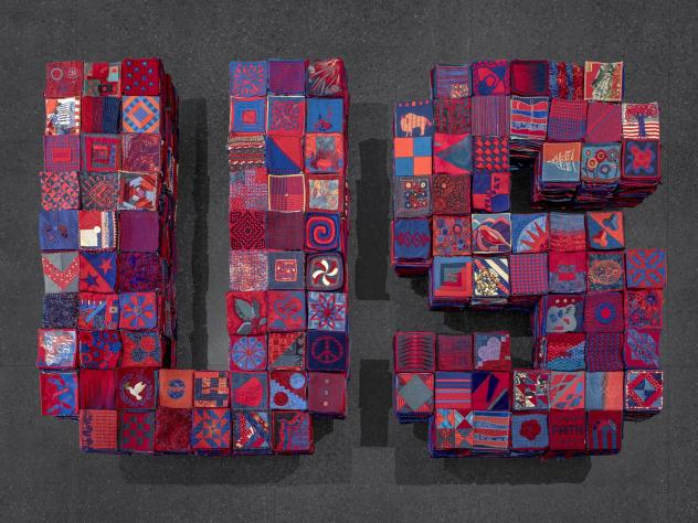 In January 2020, Arizona artist Ann Morton put out a call on social media asking people to create 8 inch by 8 inch textile squares that use equal parts red and blue. The squares and the project as a whole stands for a set of values: respect for the other
