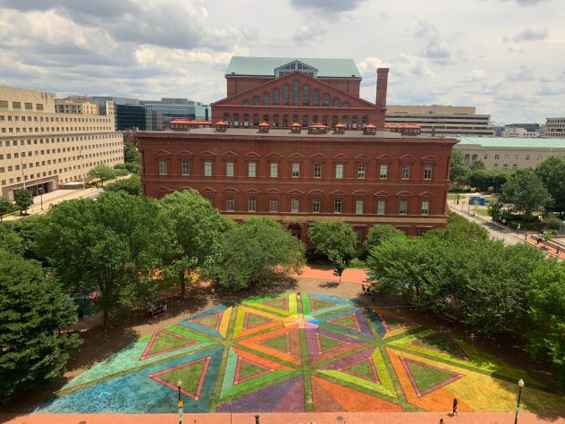 The art installation <em>E</em><em>quilateral Network</em> by Lisa Marie Thalhammer now graces the lawn of the National Building museum in Washington, D.C.