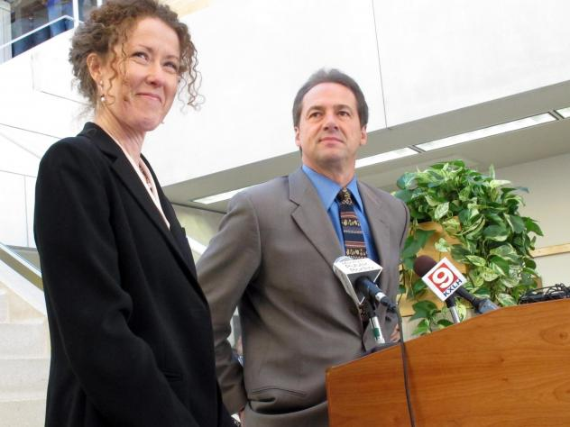 Tracy Stone-Manning (left) was named in 2012 by Gov.-elect Steve Bullock to run the Montana Department of Environmental Quality, in Helena, Mont. Stone-Manning has been nominated by President Joe Biden to lead an agency that oversees about a quarter-bill