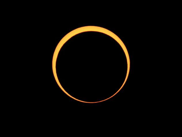 The moon appears to cover the sun during an annular eclipse of the sun in May 2012, as seen from Chaco Culture National Historical Park in Nageezi, N.M.