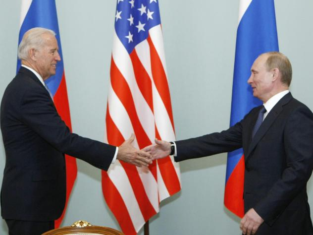 In this 2011 photo, Joe Biden, then vice president, shakes hands with Vladimir Putin, then Russia's prime minister, in Moscow. President Biden will hold a summit with Putin this week in Geneva, a face-to-face meeting between the two leaders that comes am