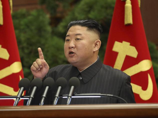 North Korean leader Kim Jong Un speaks during a Politburo meeting of the ruling Workers' Party on Tuesday in Pyongyang.