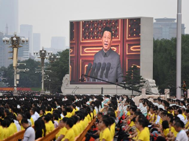 Chinese President Xi Jinping delivers a speech Thursday during the celebrations of the 100th anniversary of the founding of the Communist Party of China at Tiananmen Square in Beijing.