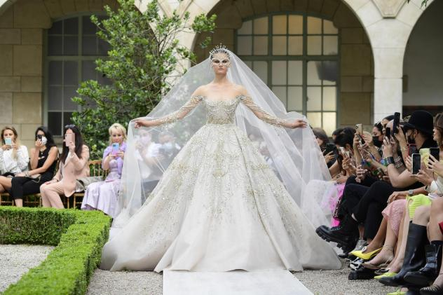 A model walks the runway during the Zuhair Murad Couture Haute Couture Fall/Winter 2021/2022 show as part of Paris Fashion Week on July 7, 2021.