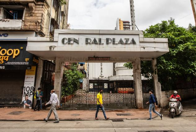 The front gate of Mumbai's century-old Central Plaza cinema. The theater closed last spring.