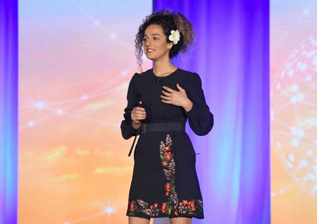 Masih Alinejad speaks onstage during a conference hosted by Women In Cable Television on Oct. 16, 2018, in New York City.