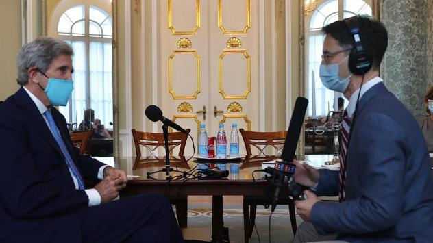 Kerry gets interviewed by NPR's Lucian Kim on Wednesday at Spaso House, the official Moscow residence of the U.S. ambassador to Russia.