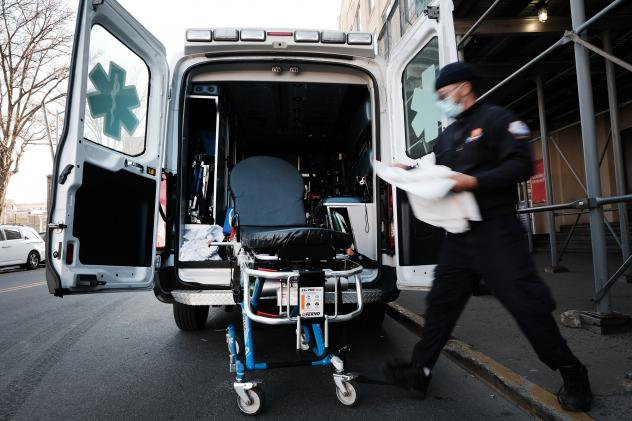 In June, New York City started its Behavioral Health Emergency Assistance Response Division, or B-HEARD, to provide more targeted care for those struggling with mental health issues and emergencies. In this photo from March, an EMT worker cleans a gurney