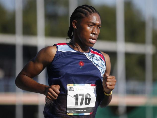 Two-time Olympic gold medalist Caster Semenya competes in the women's 5000-meter final in Pretoria, South Africa, on April 15. Her attempt to qualify for the Tokyo Olympics in an event exempt from new testosterone rules fell short.