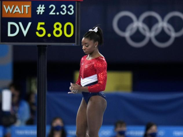 U.S. gymnastics star Simone Biles, shown here last week, will compete in the balance beam final at the Tokyo Games on Tuesday.