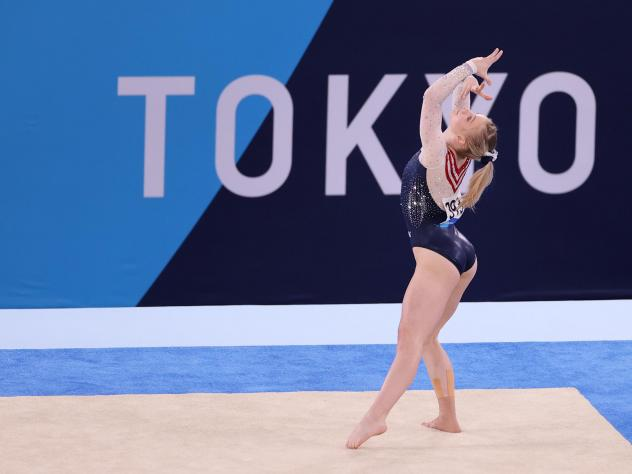 U.S. gymnast Jade Carey competes during the women's floor exercise final on Monday at the Tokyo Olympic Games.