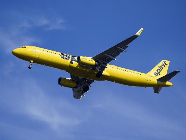 A Spirit Airlines jet seen approaching  Philadelphia International Airport earlier this year.