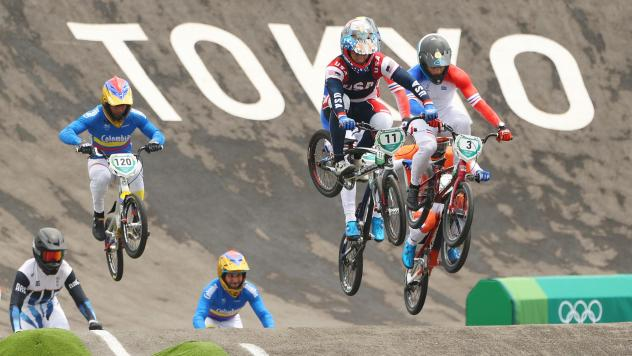 Connor Fields of Team USA leads other riders in the men's BMX semifinal on July 30 at the Tokyo Olympics. He would crash later, suffering a brain hemorrhage and broken rib.