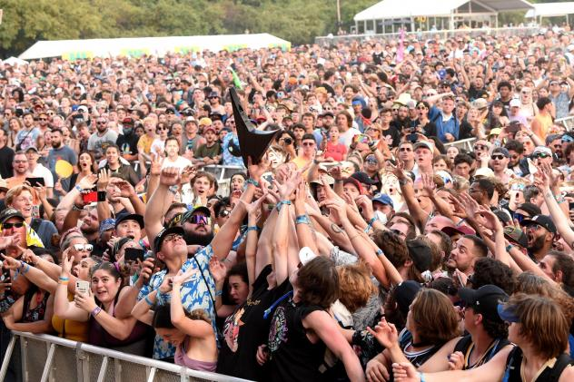 The crowd catches Wes Borland's guitar during Lollapalooza 2021 at Grant Park on July 31, 2021 in Chicago, Ill.