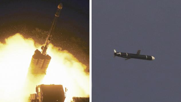This combination of photos provided by the North Korean government on Monday shows long-range cruise missiles tests held on Sept. 11 and 12, in an undisclosed location of North Korea.