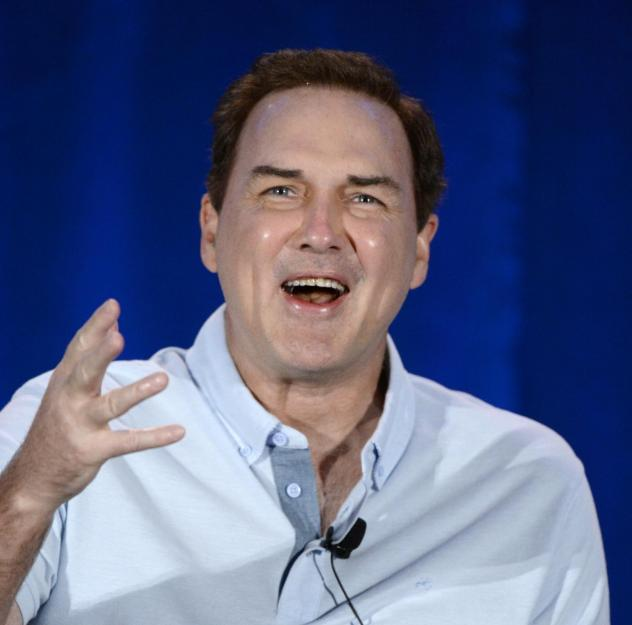 Norm Macdonald speaks during a panel discussion of reality television talent show <em>Last Comic Standing</em> in 2015.