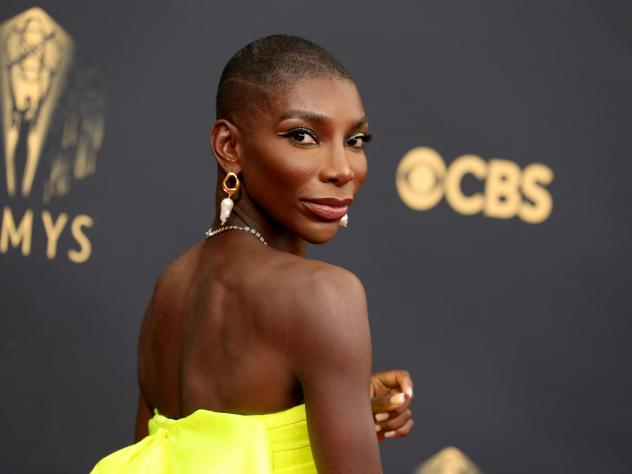 Michaela Coel, winner of Outstanding Writing For A Limited Or Anthology Series Or Movie, on the red carpet