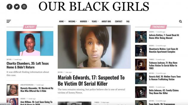 Created in 2018, the Our Black Girls website centers the stories of missing Black girls and women.