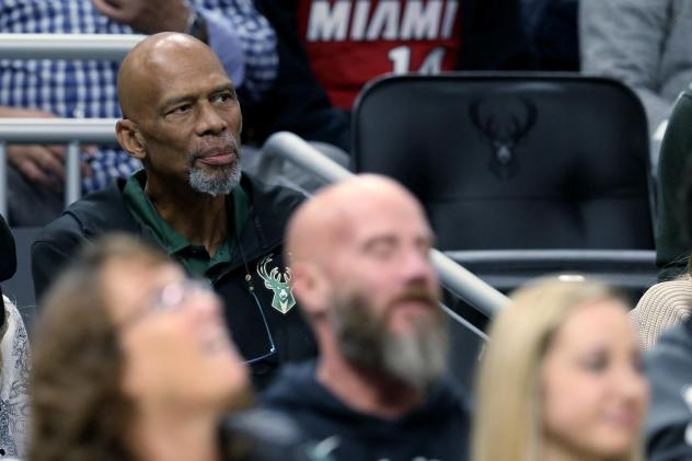 NBA Hall of Famer Kareem Abdul-Jabbar looks on during the game between the Miami Heat and Milwaukee Bucks at the Fiserv Forum in 2019 in Milwaukee.