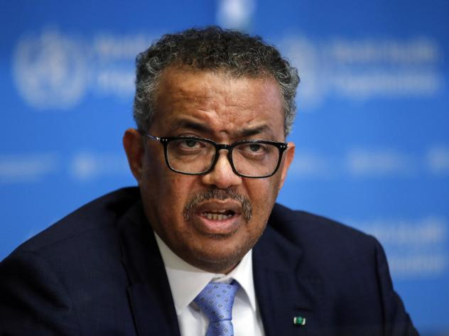 Tedros Adhanom Ghebreyesus, director general of the World Health Organization (WHO), speaks during a news conference on the COVID-19 coronavirus outbreak in Geneva, in March 2020.