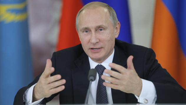 President Vladimir Putin speaks in Moscow on Dec. 23. Russia's current economic crisis stems from Western sanctions and diving oil prices.